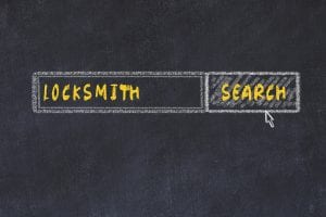 Chalk board sketch of search engine. Concept of searching for locksmith